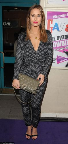 eaa37916ee Covering up  Ferne McCann donned a patterned jumpsuit which she paired with  strappy sandal.