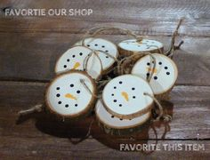 Snowman Christmas Ornaments - Hand Painted Christmas Ornament Set - Rustic Christmas Decorations - White Christmas Tree Ornament - Log SLice