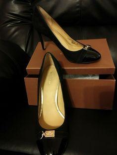 5e736a01533 Coach Womens Salina Pumps Size 10B Black Patent Leather Suede Heels   fashion  clothing