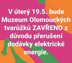 V úterý 19.5. bude Muzeum Olomouckých tvarůžků ZAVŘENO...⚡⚡⚡omlouváme se za komplikace a těšíme se na Vaši příští návštěvu. 👍🙂 #muzeum #muzeumolomouckychtvaruzku #tvaruzek #tvaruzky #muzeumtvaruzku #zavreno #nejdeelektrika #lostice Instagram
