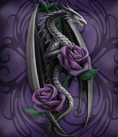 anne stokes Purple roses and dragons what more do you want? Fantasy Dragon, Fantasy Art, Fantasy Gifts, Tatoo Flowers, Dragon Oriental, Yi King, Anne Stokes, Dragon's Lair, Dragon Artwork