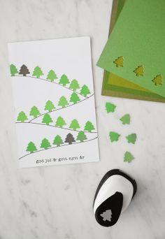 postal árboles de navidad con troquelador.