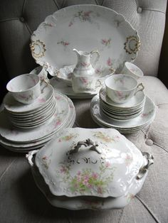 30+ pieces of this gorgeous vintage china set by GDA Limoge ~ made in France.  You will get all pieces shown except the lidded tureen (which is not Limoge). It is sold separately if interested. All pieces are in excellent condition, although the small pitcher has 2 very small flea bite chips on the spout lip. Some items are: Large platter, small platter, open bowl, small pitcher, 5 teacups, 8 berry bowls, etc.