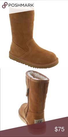 NEW UGG LIL SUNSHINE. Chestnut Treat your little rays of sunshine to the comfort and great looks of these UGG 'Lil Sunshine boots, which feature suede leather construction with premium sheepskin shearling linings. High-quality suede leather uppers manage moisture with ease, breathe well and conform to little feet for a personalized fit UGG Shoes Boots