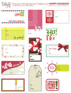 4-5 sheets of printable gift tags!!  Add a special touch to your Christmas gift-wrapping! | Frog + Princess Blog