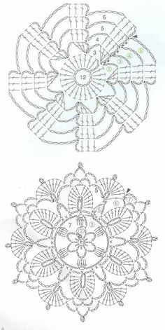 Crochet Motif Patterns, Granny Square Crochet Pattern, Crochet Diagram, Crochet Chart, Crochet Squares, Crochet Cross, Thread Crochet, Crochet Flowers, Crochet Doilies