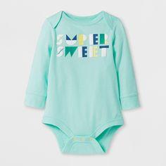 Baby Boys' 'super Sweet' Long Sleeve Bodysuit - Cat & Jack Aqua 0-3M, Green
