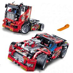608pcs Race Truck Car 2 In 1 Transformable Model Building Block Sets DIY Toys  #Unbranded