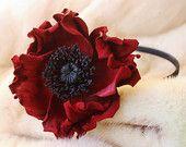 Leather flower headband, leather poppy, red poppy, burgundy headband, leather anniversary