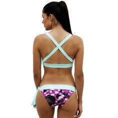 Ocean/Aqua Crossed Top and Ocean Orchid Bow Bottom - Ao de clo   Swimwear