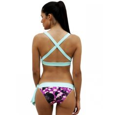 Ocean/Aqua Crossed Top and Ocean Orchid Bow Bottom - Ao de clo | Swimwear