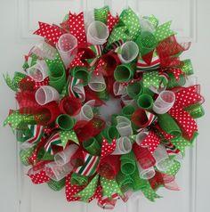 Christmas Mesh Wreath by CarolinaBowCompany on Etsy, $65.00