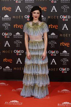 Barbara Lennie con vestido de Gucci. Premios Goya 2017