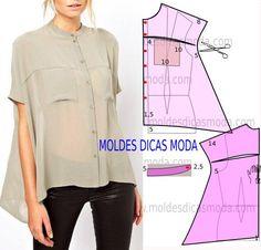 Passo a passo transformação do molde de blusa com escapulário. Para fazer este modelo de blusa imprima o molde base de blusa e faça a gradação.
