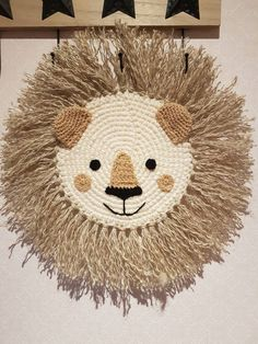 This unique Lion handmade product with 2 styles of handcraft crochet and macrame. Looks good in every nursery room, playroom, kids room. This is a wall decoration. Nursery Room, Nursery Decor, Wall Decor, Crochet Wall Hangings, Crochet Lion, Animal Nursery, Animal Heads, Wall Hanger, Wall Tapestry