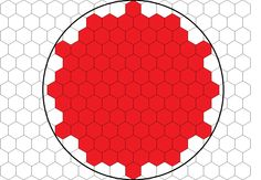 Packed hexagons in red
