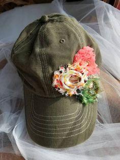 cd36b44d5 Items similar to Shabby Chic Rose Trio Ball Cap Baseball Olive Green hat  Womens on Etsy