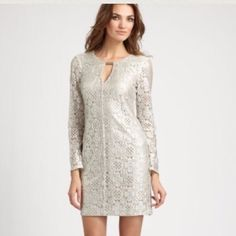 PRICE DROP Trina Turk Silver lace dress Gorgeous silver lace key hole dress. Only worn once and in mint condition. Originally purchased for $250 which was on sale from $398. Great for any occasion. Trina Turk Dresses