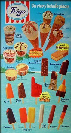 cartel helados 1980 En 1980 ya aparecen los helados de hielo como el Pop-eye de naranja y limón, el Capitán Cola y como gran novedad el Frigo Dedo. ¿Quién no lo llegó a probar?