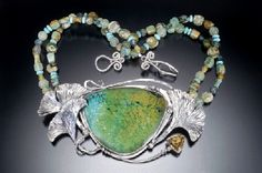 :::Jewels of the Spirit::: Gingko Pool neckpiece by Susannah Ravenswing ~ SS and fine silver, Chinese turquoise, citrine, jade & serpentine