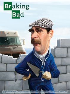 """Caricature of Nigel Mansell for my next book : """"Légendes du Sport Automobile"""" (Vents d'Ouest, 2013). Here with his famous camper... This man was the true and original """"'Braking Bad"""" !"""