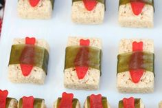 "Rice Krispie ""sushi"" made with Swedish Fish and Fruit Roll-ups"