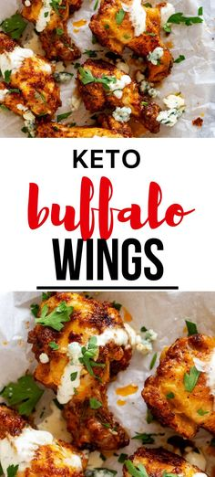 This Keto Buffalo Wing recipe is SO EASY to make and works just as well for a game day appetizer as it does for a weeknight meal. You won't believe how crispy this recipe is! This dish can be oven baked, made in the Air Fryer, or fried. #kickingcarbs #ketodiet #ketogenic #lchf #ketobuffalowings Healthy Chicken Recipes, Keto Recipes, Dinner Recipes, Keto Chicken, Free Recipes, Great Appetizers, Healthy Appetizers, Party Appetizers, Gluten Free Dinner