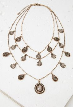Layered Faux Gem Teardrop Necklace | Forever 21 - 1002247869