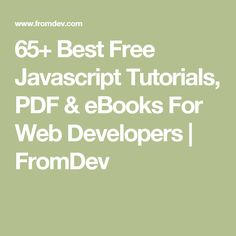 free javascript tutorial pdf