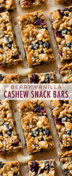Recipes Snacks Bars AMAZING grain free and dairy free copycat KIND bars in a delicious berry vanilla flavor! These are so easy to make! Recipe on sallysbakingaddic. Healthy Granola Bars, Muesli Bars, Healthy Bars, Healthy Sweets, Healthy Snacks, Keto Granola, Clean Granola Bars, Healthy Breakfasts, Protein Snacks