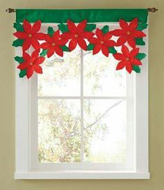 Christmas Poinsettia Floral Window Valance from Collections Etc.High Quality Flower Leaf Door Window Drape Panel Christmas Curtain Decorative Home Christmas Decoration For HomeChristmas Petals Blackout Curtains Solid Colors for the Living Room Kitche Christmas Projects, Diy And Crafts, Christmas Crafts, Christmas Ornaments, Hanging Ornaments, Christmas Trees, Christmas Poinsettia, Felt Christmas, Merry Christmas