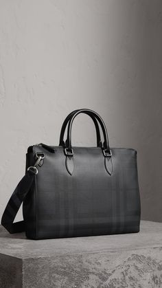 Large London Check Briefcase in Charcoal/black - Men | Burberry United Kingdom