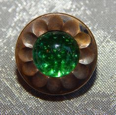 Antique 1800's Green Jeweled & Brass Waistcoat Button  #717a #Unknown