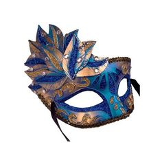 Side Overlay Blue Gold Adult's Venetian Mask ($19) ❤ liked on Polyvore featuring costumes, masks, masquerade halloween costumes, adult halloween costumes, blue halloween costume, adult costumes and blue costume