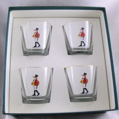 $35 Set/4 Sir Snooty Fox Tapered Old Fashioned Glasses Gift Box Foxhunt Equestrian