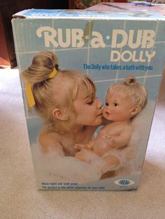 "1973 Ideal Rub-a-Dub Dolly was one of my favorite baby doll as a kid! ""Taking a bath can be so much fun cuz two in the bathtub,...."""
