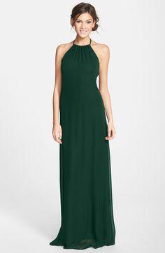 Forest green bridesmaid dress   'Jordan' Open Back Chiffon Halter Gown