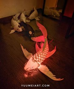 I've long been fascinated with origami, paper art, and koi. Through out college I've designed poseable koi out of wood, and folded origami koi out of a single sheet of paper. Fish Paper Craft, Diy Paper, Paper Art, Paper Crafts, Origami, Paper Birds, Cardboard Art, Butterfly Koi, Leaf Art