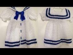 Crochet Toddler, Crochet Kids Hats, Crochet Girls, Play Clothing, Crochet Baby Dress Pattern, Doll Dress Patterns, Crochet Doll Clothes, Baby Cardigan, Crochet Videos