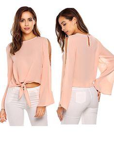 7e3ba1db15cc4 FANEO Women Cold Shoulder Tops Fashion Chiffon Long Sleeve Solid O-Neck  Loose Casual Blouse #summer #summerstyle #fashion #style #stylish  #styleblogger ...