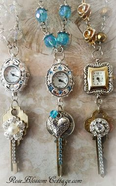 Romantic Redux Watch Necklace Vintage Key Silver & Gold Tone Crystal