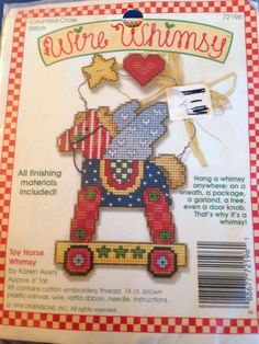 Vtg Dimensions Wire Whimsy Toy Horse Counted Cross Stitch Kit by Karen Avery New #Dimensions #Ornament