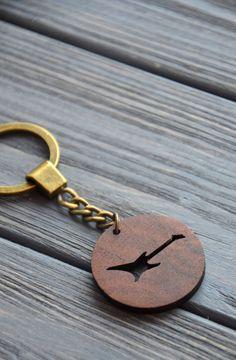 Guitar Wooden Keychain Musician gift idea Wood Eco Gift Walnut Custom engraved