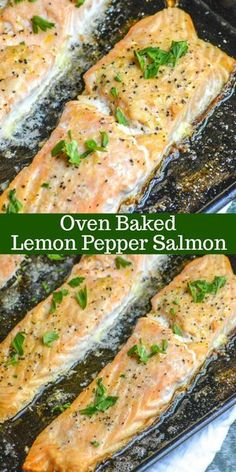 Oven Baked Lemon Pepper Salmon ~ a seasoned salmon dinner is only 20 minutes away with this delicious sheet pan recipe! An easy way to make the most delicious, this recipe makes lemon pepper buttered tender seasoned salmon quickly & easily in the oven. Lemon Pepper Salmon, Butter Salmon, Dijon Salmon, Lemon Garlic Salmon, Keto Salmon, Easy Soup Recipes, Seafood Recipes, Cooking Recipes, Lunch Recipes