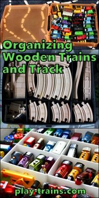 Organizing Wooden Trains and Track The Play Trains! Ultimate Wooden Train Guide is part of Playroom Organization With Train Table - Suggestions for organizing wooden trains and wooden train tracks Baby Shoe Storage, Toy Storage, Ikea Storage, Kitchen Storage, Wooden Train, Train Table, Car Table, Train Room, Playroom Organization