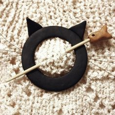 Cat Shawl Pin Black Polymer Clay by WireDreamsDesign on Etsy, $10.00