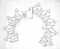 Hans Scharoun - viviendas romeo y julieta - Stutgart - 1949 / 1954 Organic Architecture, Concept Architecture, Architecture Drawings, Contemporary Architecture, Hans Scharoun, Critical Regionalism, Elevation Plan, Plan Drawing, Apartment Plans