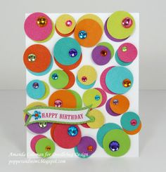 How crazy cute is this circle card!  Use a circle punch to make 2 sizes of circles in all the colors you like!  Layer them 2 at a time and add sparkly sequins for your own handmade version.  Or turn them all into balloons:)