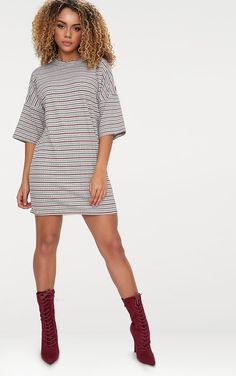 64e5b6a1cae Burgundy Ribbed Stripe Oversized T Shirt Dress