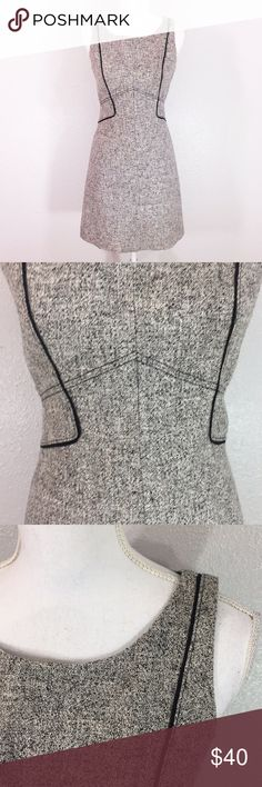 WHBM Gray tweed dress WHBM Gray tweed dress. Zipper in back. Black piping. Slip attached. Acrylic polyester. 35 inches long. Tag reads size 6 White House Black Market Dresses